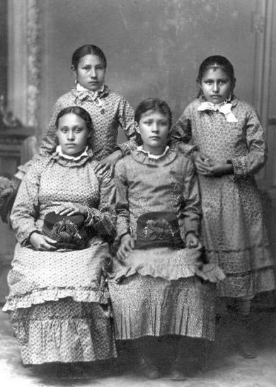 Lucy Black Shortnose, Anna Laura, Justine La Framboise, and Nancy Renville, c.1880