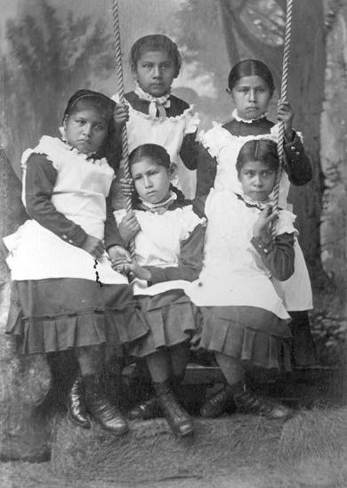 Five young female Osage students, c.1882