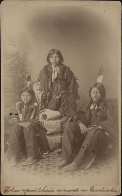 Wounded Yellow Robe, Chauncey Yellow Robe, and Henry Standing Bear [version 2], 1883