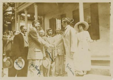 Jim Thorpe and shaking hands with Moses Friedman, c.1912