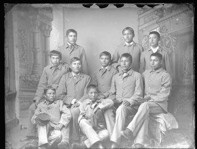 Ten Sioux male students [version 1], c.1883