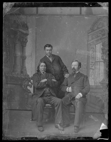 Red Cloud with Agent Townsend and a male student [version 1], 1883