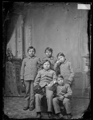 Five young male Sioux students [version 1], c.1880