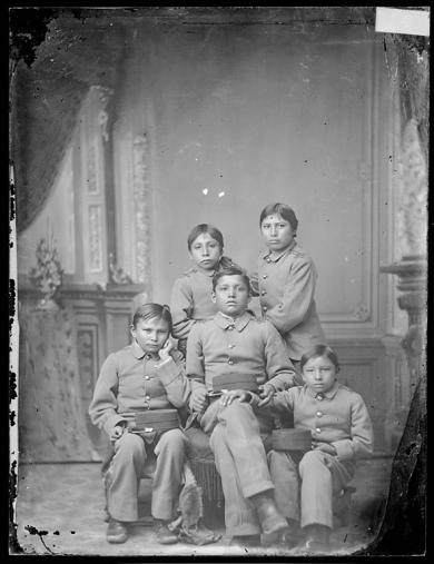 Five male Sioux students [version 1], 1880