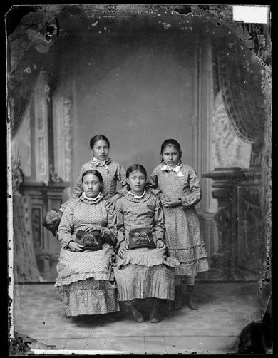 Lucy Black Shortnose, Anna Laura, Justine La Framboise, and Nancy Renville [version 1], c.1880
