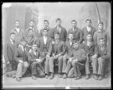 Seventeen male Sioux students [version 1], 1893