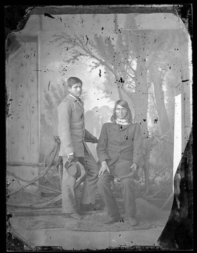 Male student with a male visitor [?], c.1882