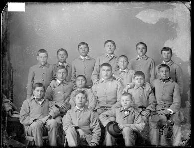 Fifteen Sioux male students [version 1], c.1883
