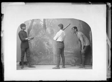 Three young men posed for playing baseball, c.1887