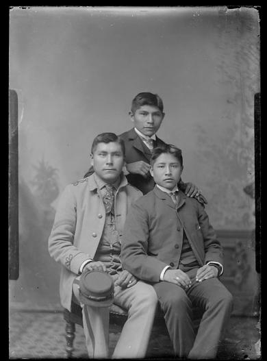 Roland Fish, Jonas Place, and an unidentified young man, c.1885