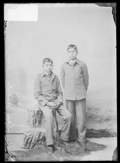 Isaac Webster and an unidentified male student, c.1890