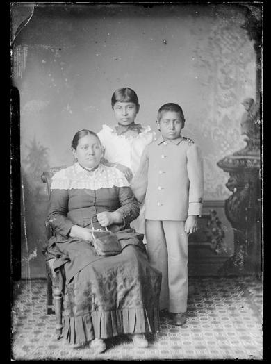 Mary K. Marmon, Lena Carr, and Harry Marmon [version 1], c.1884