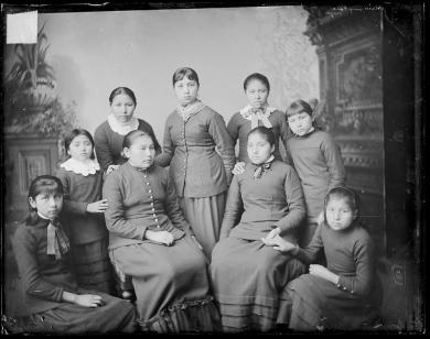 Nine female students [version 1], c.1885