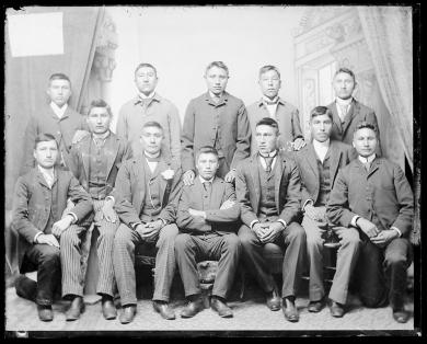 Twelve male Sioux students [version 1], c.1890