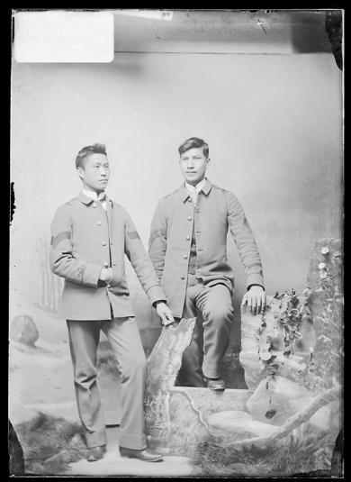 Fred Big Horse and Clarence White Thunder [version 1], c.1884