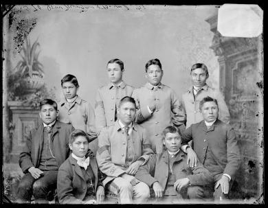Seven male Pawnee students, 1881