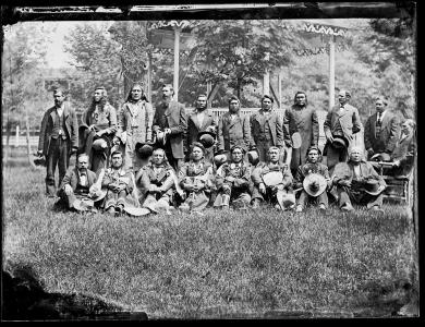 Group of visiting chiefs with Richard Henry Pratt, c.1881