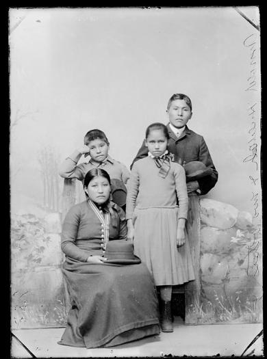 Arnold Kinzhuna and Hulda Kinzhuna with a young boy and girl, c.1888