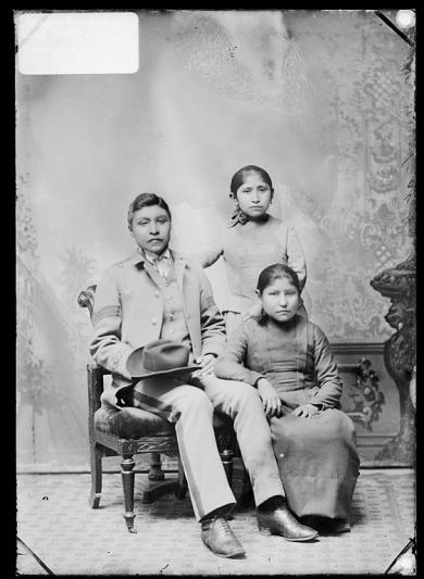 Jason Betzinez, Effie Zaienah, and Maggie Iahanetha [version 1], c.1888