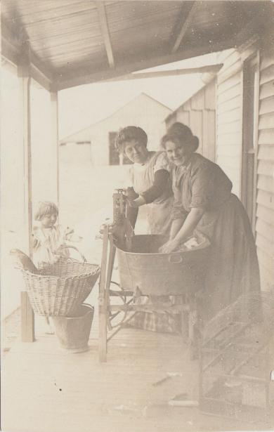 Ellen McCombs and Help Laundering Clothes, c.1910