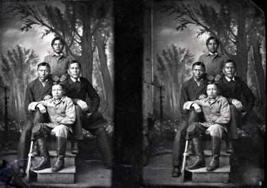 Four unidentified male students (Little Elk Group) #3, c.1883