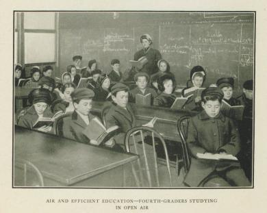 Fourth Graders Studying in Open Air