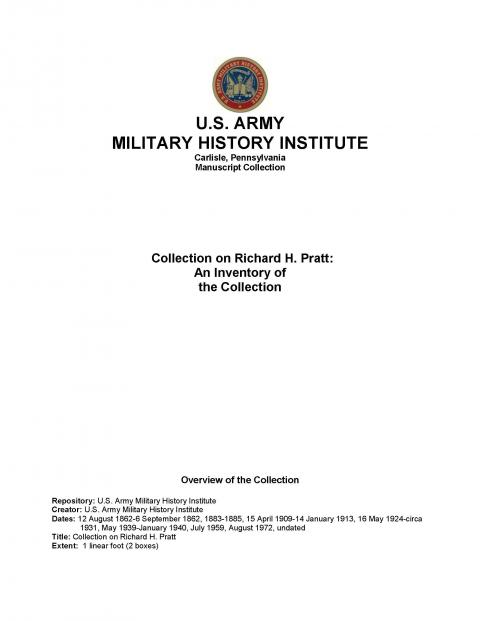 Collection on Richard H. Pratt at the U.S. Army Military History Institute