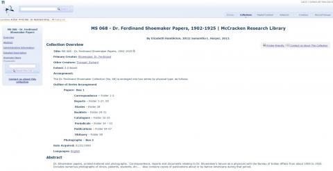 Dr. Ferdinand Shoemaker Papers at Buffalo Bill Center of the West McCracken Research Library