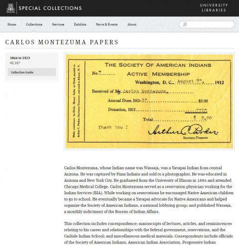 Carlos Montezuma Papers at the University of Arizona Special Collections Library