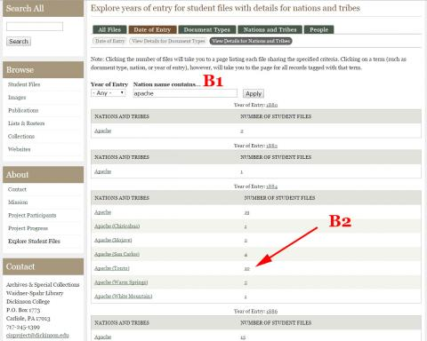 Screenshot of the 'Explore student files' date of entry tab, subpage for more detail on nations