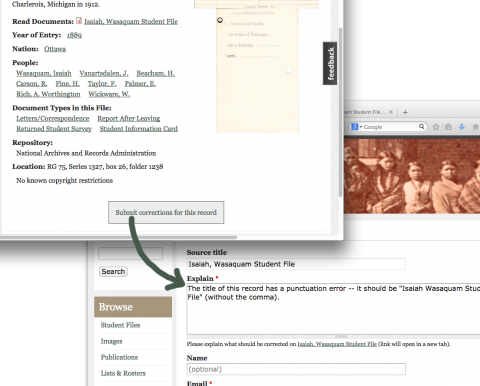 New feature: Submit corrections button