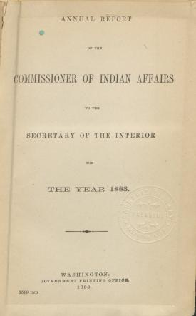 Excerpt from Annual Report of the Commissioner of Indian Affairs, 1883