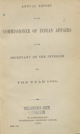 Excerpt from Annual Report of the Commissioner of Indian Affairs, 1885