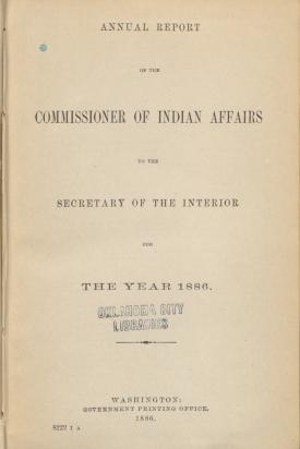Excerpt from Annual Report of the Commissioner of Indian Affairs, 1886