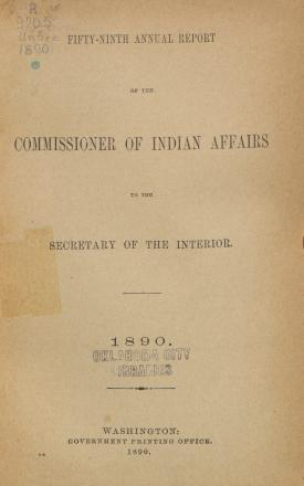 Excerpt from Annual Report of the Commissioner of Indian Affairs, 1890