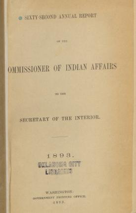 Excerpt from Annual Report of the Commissioner of Indian Affairs, 1893