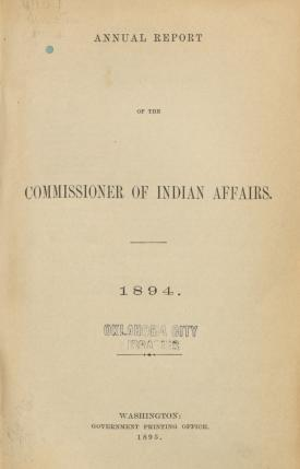 Excerpt from Annual Report of the Commissioner of Indian Affairs, 1894