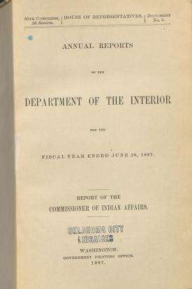 Excerpt from Annual Report of the Commissioner of Indian Affairs, 1897