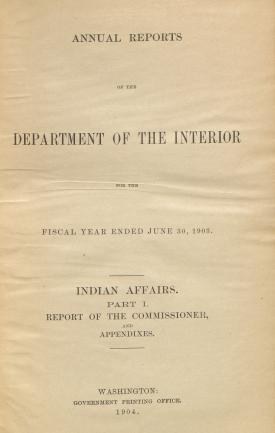 Excerpt from Annual Report of the Commissioner of Indian Affairs, 1903
