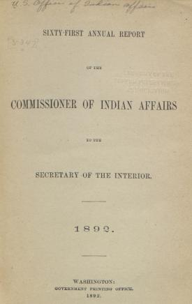 Excerpt from Annual Report of the Commissioner of Indian Affairs, 1892