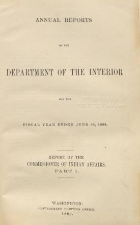 Excerpt from Annual Report of the Commissioner of Indian Affairs, 1899