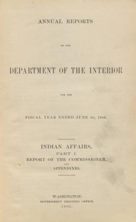 Excerpt from Annual Report of the Commissioner of Indian Affairs, 1904