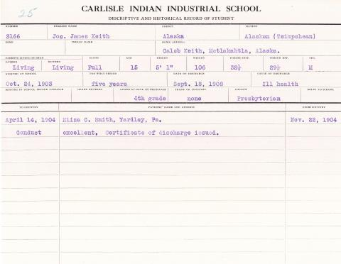 James Keith Student File