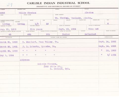 Willie Sheehan Student File