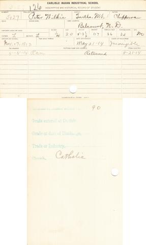 Peter Wilkie Student File