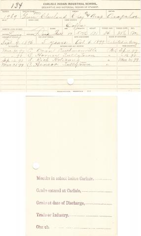Grover Cleveland Student File