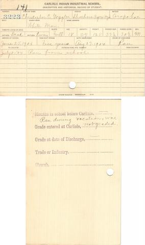 Christopher C. Goggles (White Man) Student File