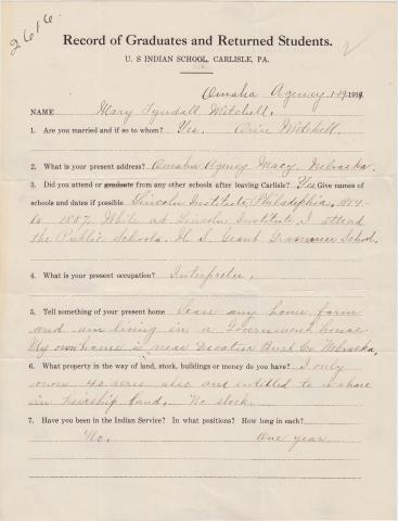 Mary Tyndall Student File