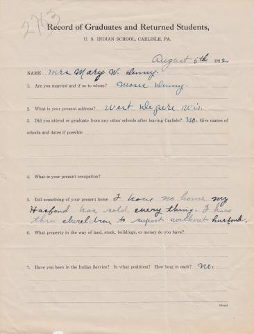 Mary Webster Student File