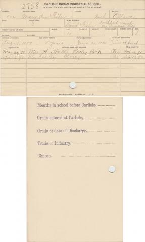Mary Ann Fisher Student File